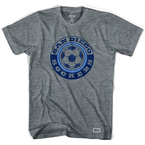 San Diego Sockers Soccer T-shirt-Adult - Athletic Grey / Adult Small - Ultras Vintage American Soccer T-shirts