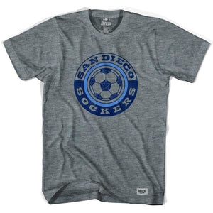 San Diego Sockers Soccer T-shirt - Athletic Grey / Adult Small - Ultras Vintage American Soccer T-shirts