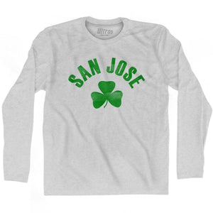 San Jose City Shamrock Cotton Long Sleeve T-shirt - Grey Heather / Adult Small - Shamrock Collection