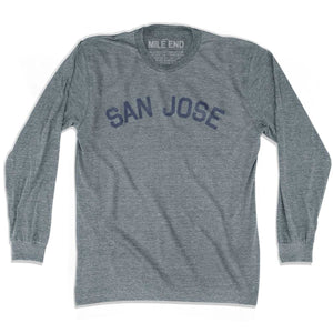 San Jose City Vintage Long Sleeve T-shirt - Athletic Grey / Adult X-Small - Mile End City