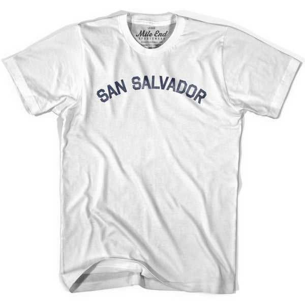 San Salvador City Vintage T-shirt - White / Youth X-Small - Mile End City