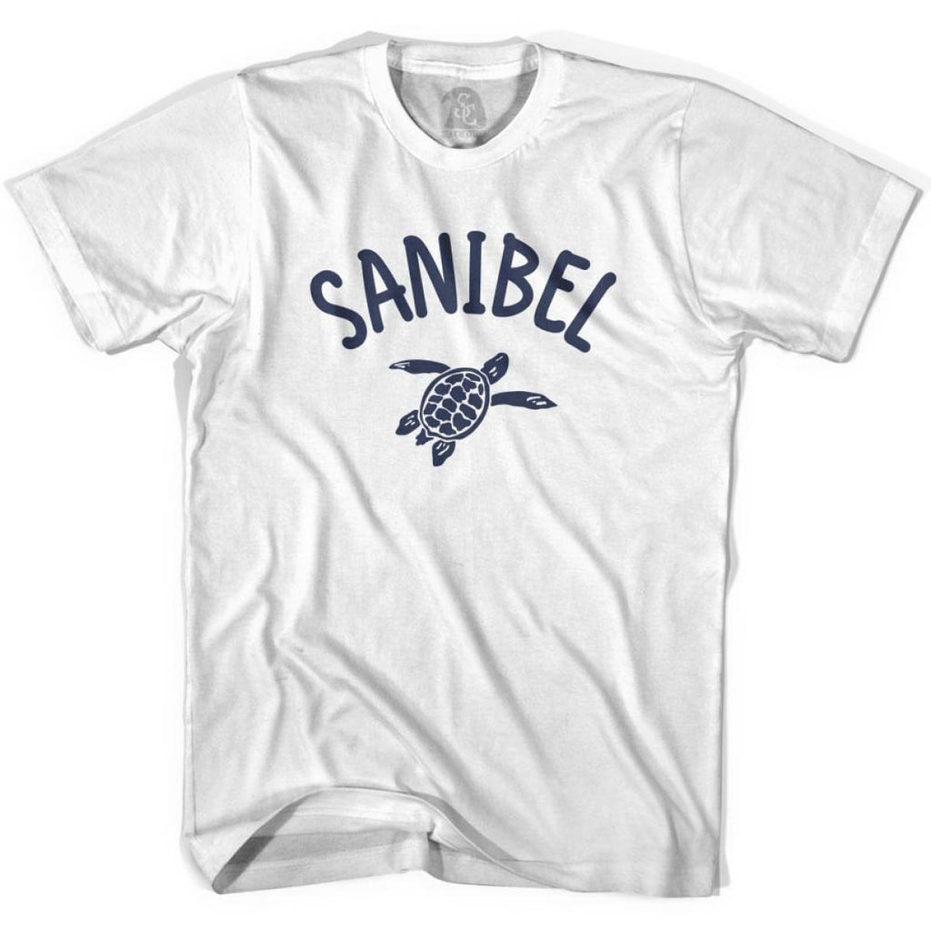 Sanibel Beach Sea Turtle Adult Cotton T-shirt - White / Adult Small - Turtle T-shirts
