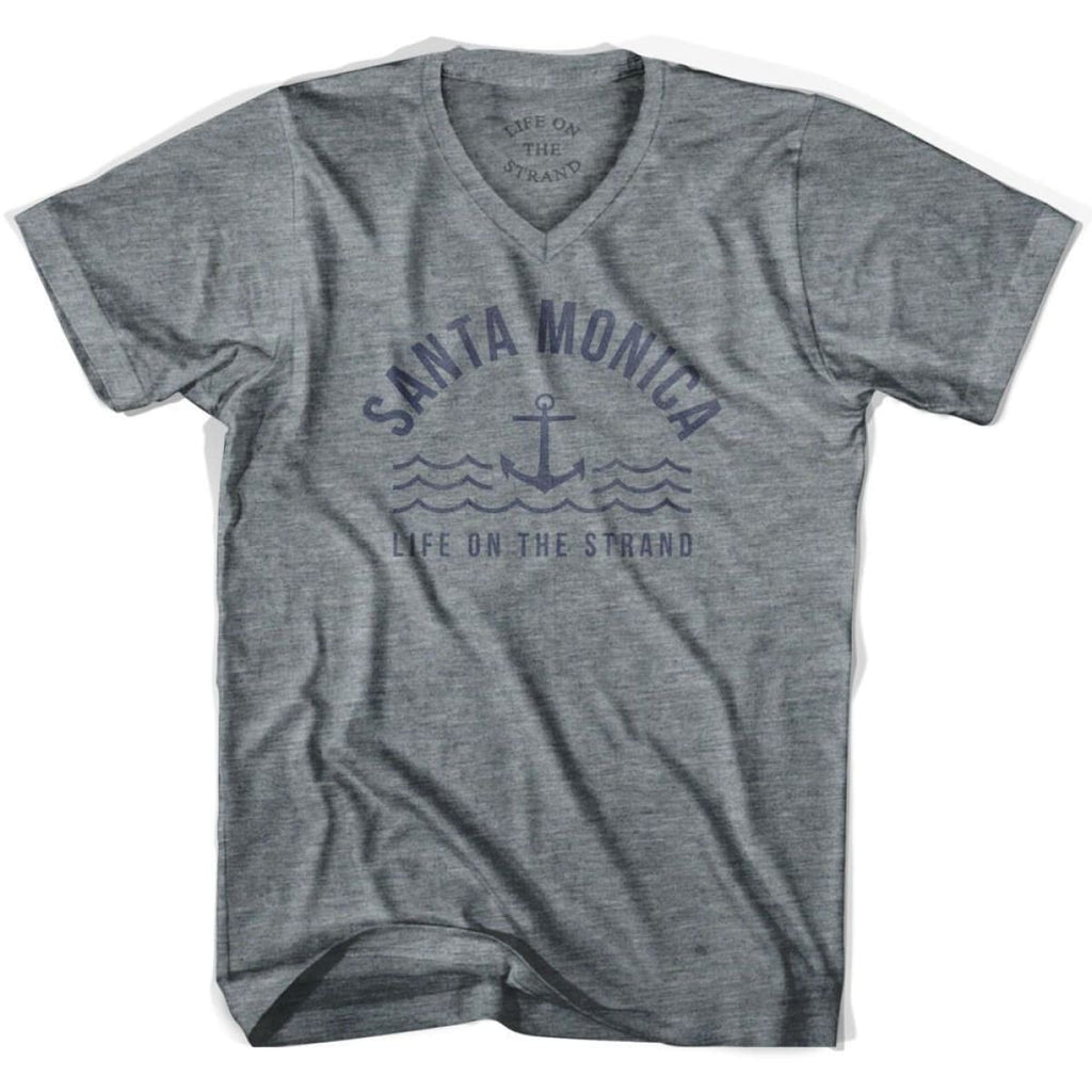 Santa Monica Anchor Life on the Strand V-neck T-shirt - Athletic Grey / Adult X-Small - Life on the Strand Anchor