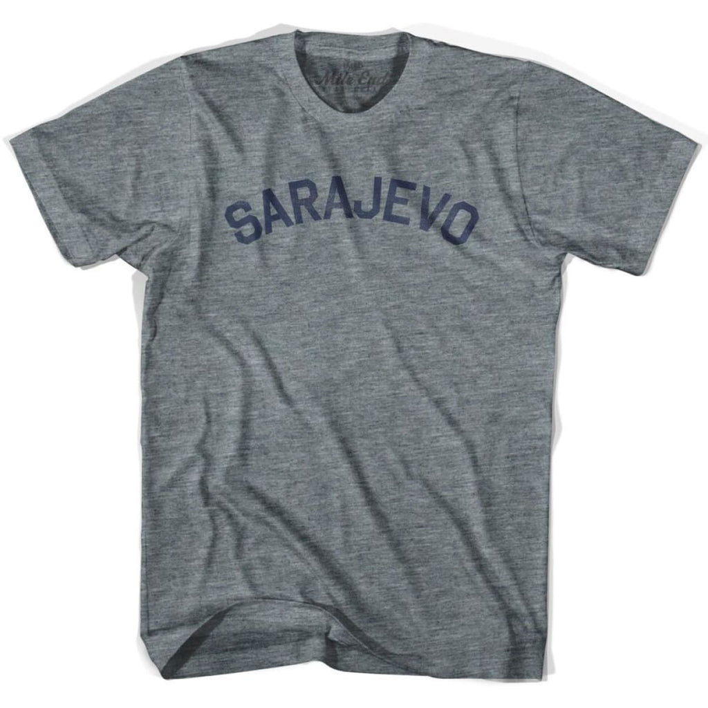 Sarajevo City Vintage T-shirt - Athletic Grey / Adult X-Small - Mile End City