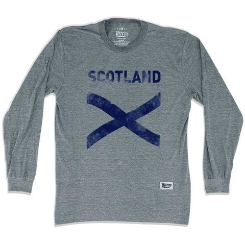 Scotland Cross Vintage Long Sleeve T-shirt - Athletic Grey / Adult X-Small - Ultras Soccer Country T-shirts