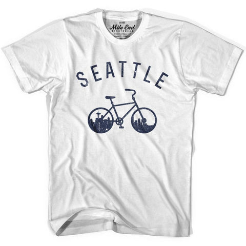 Seattle Bike T-shirt - White / Adult X-Small - Mile End City