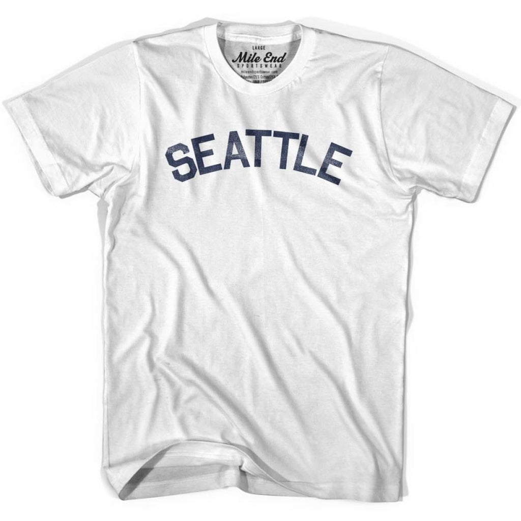 Seattle City Vintage T-shirt - White / Youth X-Small - Mile End City