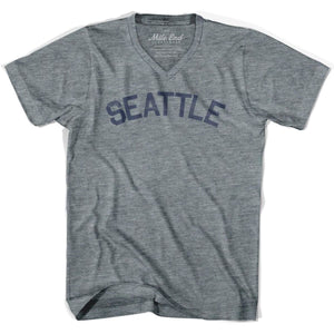 Seattle City Vintage V-neck T-shirt - Athletic Grey / Adult X-Small - Mile End City