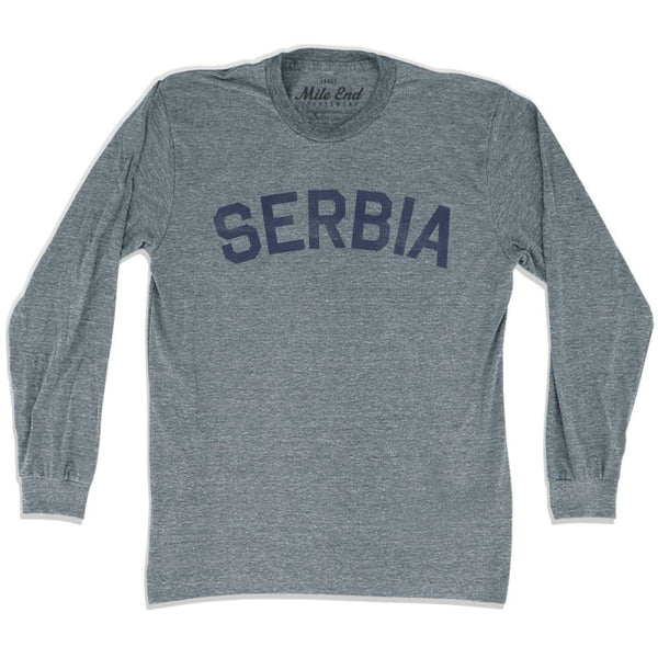 Serbia City Vintage Long Sleeve T-shirt - Athletic Grey / Adult X-Small - Mile End City