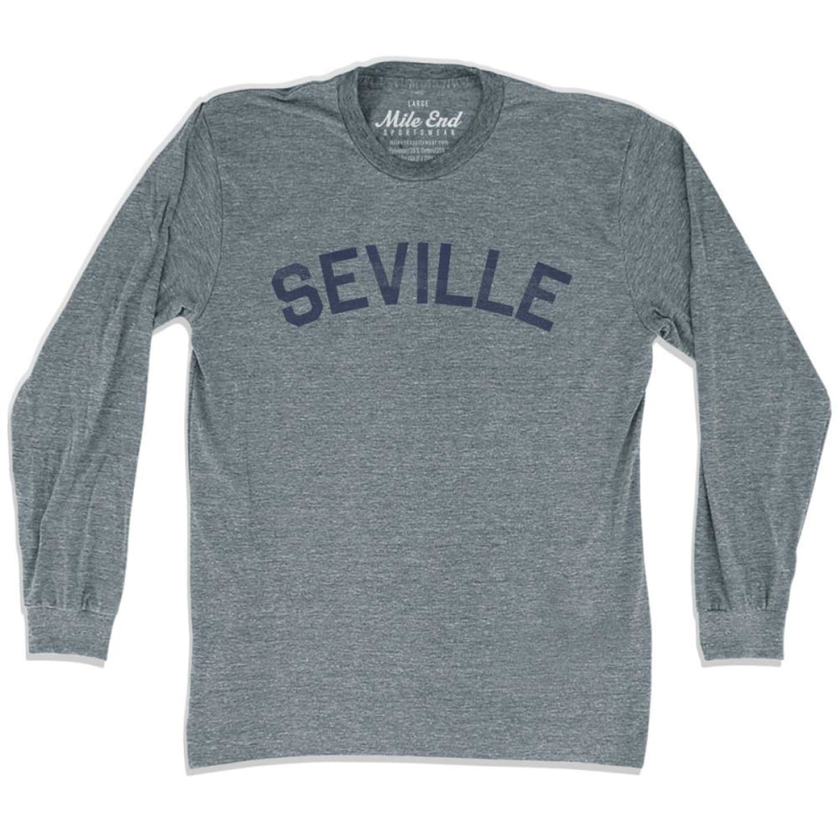 Seville City Vintage Long Sleeve T-Shirt - Athletic Grey / Adult X-Small - Mile End City