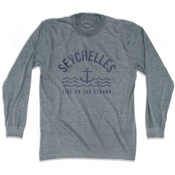 Seychelles Anchor Life on the Strand Long Sleeve T-shirt - Athletic Grey / Adult X-Small - Life on the Strand Anchor