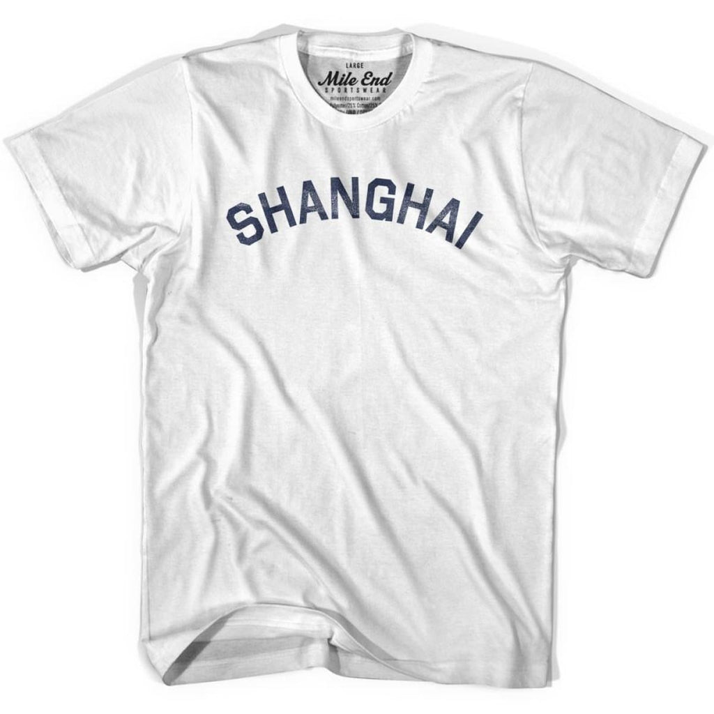 Shanghai City Vintage T-shirt - White / Youth X-Small - Mile End City