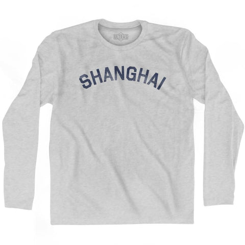 Shanghai Vintage City Adult Cotton Long Sleeve T-shirt - Grey Heather / Adult Small - Asian Vintage City