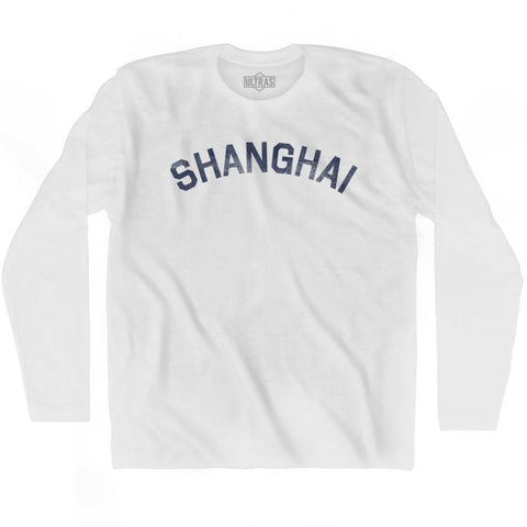 Shanghai Vintage City Adult Cotton Long Sleeve T-shirt - White / Adult Small - Asian Vintage City