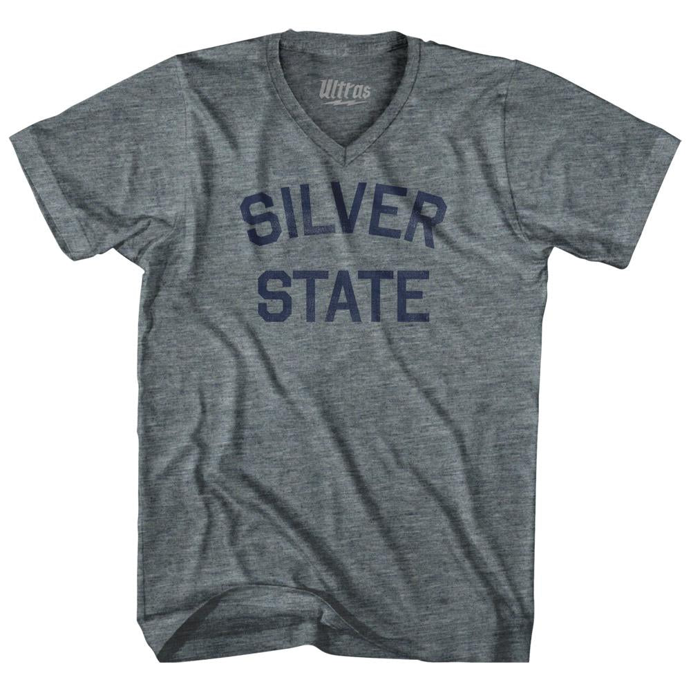 Nevada Silver State Nickname Adult Tri-Blend V-neck Womens Junior Cut T-shirt by Ultras