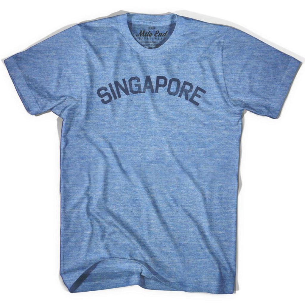 Singapore City Vintage T-shirt - Athletic Blue / Adult X-Small - Mile End City