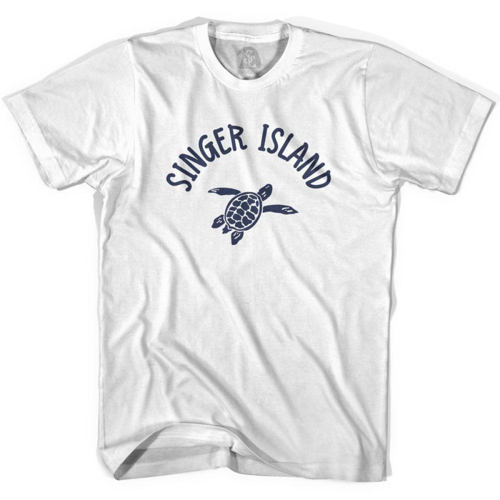 Singer Island Beach Sea Turtle Adult Cotton T-shirt - White / Adult Small - Turtle T-shirts