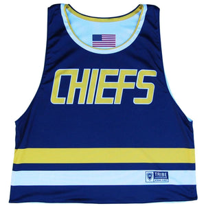 Slap Shot Chiefs Reversible Lacrosse Pinnie - Navy Blue/Light Blue / Youth X-Small / No - Graphic Lacrosse Pinnies