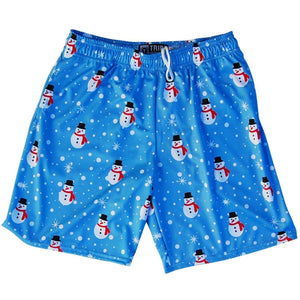 Snowman Christmas Winter Holiday Lacrosse Shorts - Carolina Blue / Youth X-Small - Tribe Lacrosse Shorts