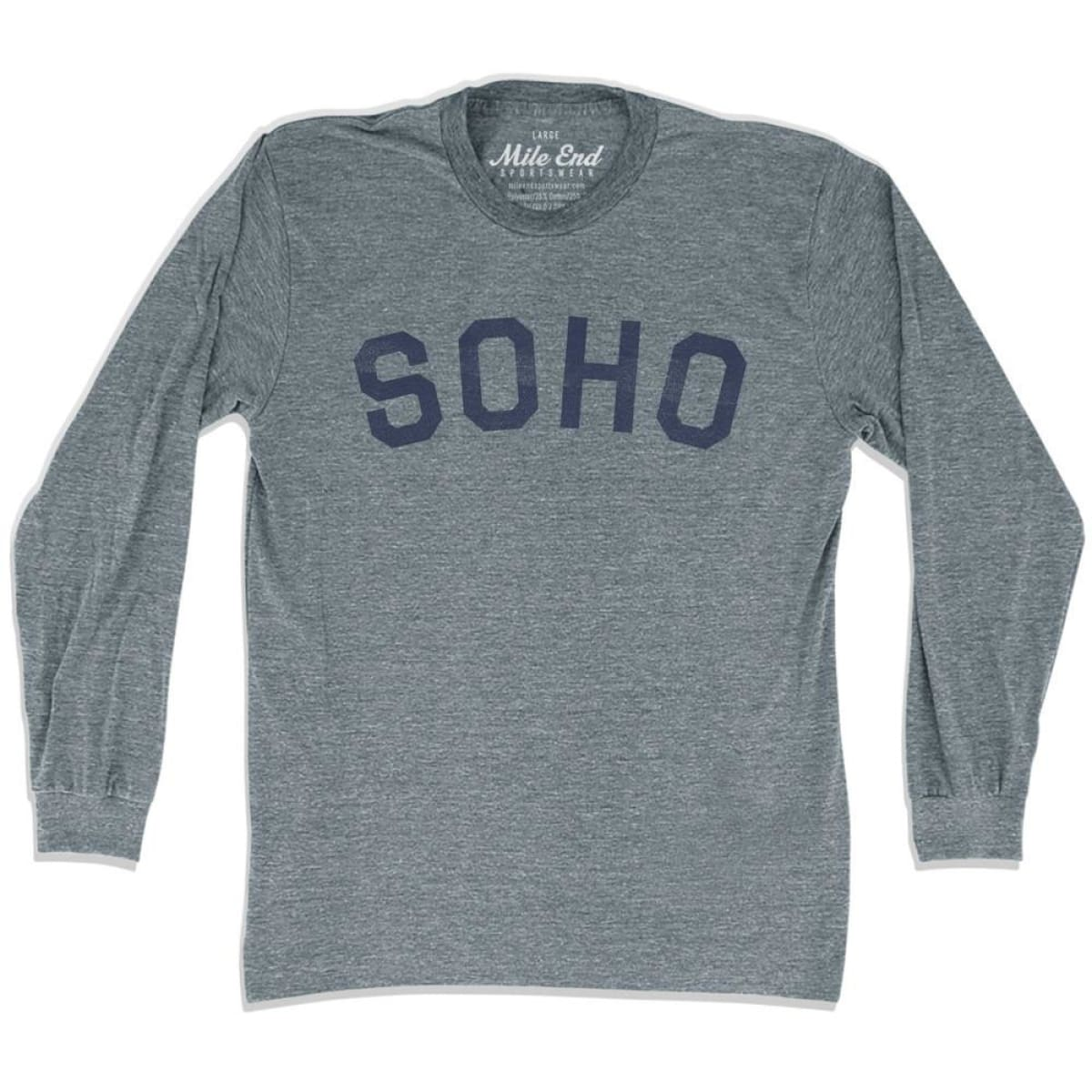 Soho City Vintage Long Sleeve T-Shirt - Athletic Grey / Adult X-Small - Mile End City