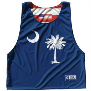 South Carolina State Flag and American Flag Reversible Lacrosse Pinnie - Navy / Adult Small / No - Lacrosse Pinnies