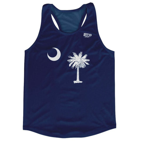 South Carolina State Flag Running Tank Top Racerback Track and Cross Country Singlet Jersey - Navy / Adult X-Small - Running Top