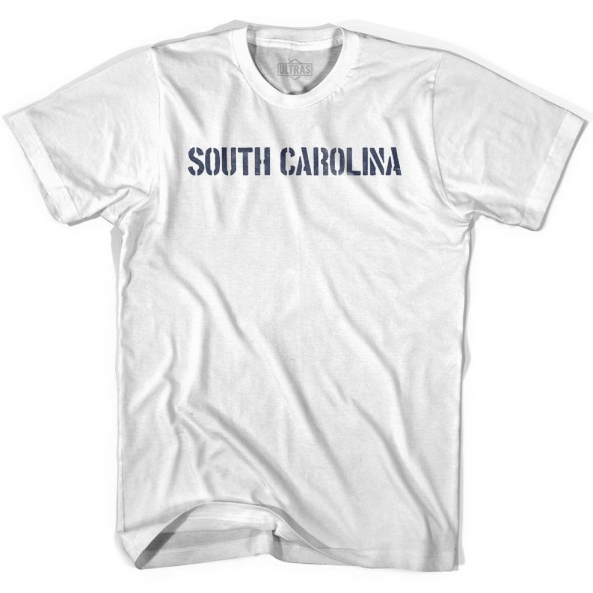 South Carolina State Stencil Adult Cotton T-shirt - White / Adult Small - Stencil State