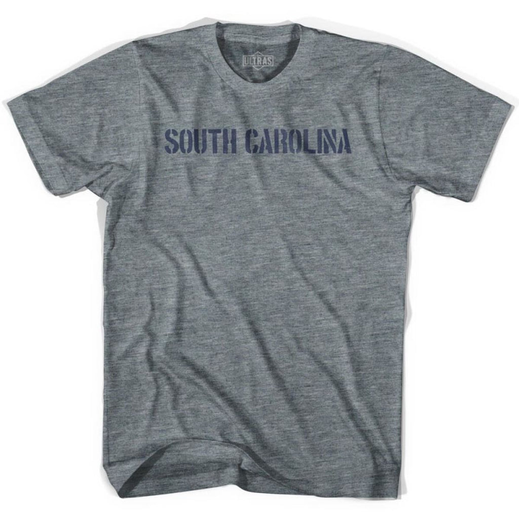 South Carolina State Stencil Youth Tri-Blend T-shirt - Athletic Grey / Youth X-Small - Stencil State