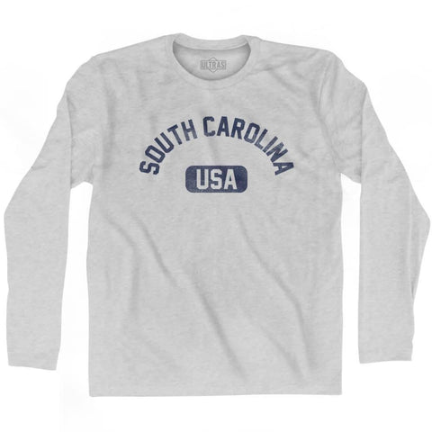 South Carolina USA Adult Cotton Long Sleeve T-shirt - Grey Heather / Adult Small - USA State
