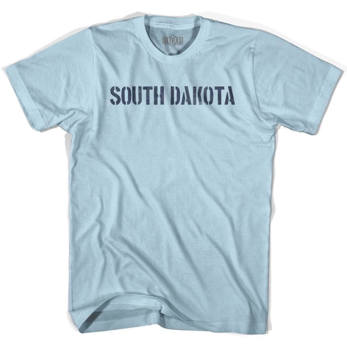 South Dakota State Stencil Adult Cotton T-shirt - Light Blue / Adult Small - Stencil State