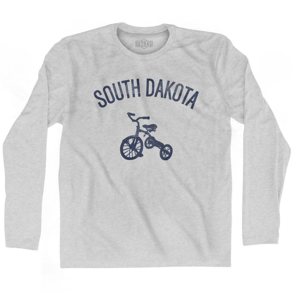 South Dakota State Tricycle Adult Cotton Long Sleeve T-shirt - Grey Heather / Adult Small - Tricycle State