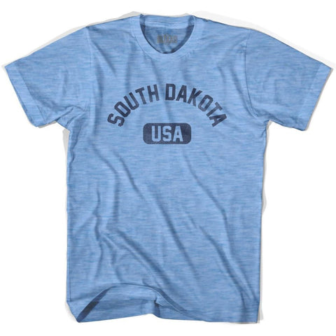 South Dakota USA Adult Tri-Blend T-shirt - Athletic Blue / Adult Small - USA State