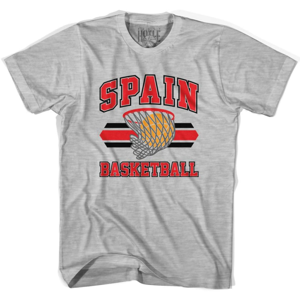 Spain 90s Basketball T-shirts - Grey Heather / Youth X-Small - Basketball T-shirt