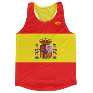 Spain Country Flag Running Tank Top Racerback Track and Cross Country Singlet Jersey - Red Yellow / Adult X-Small - Running Top