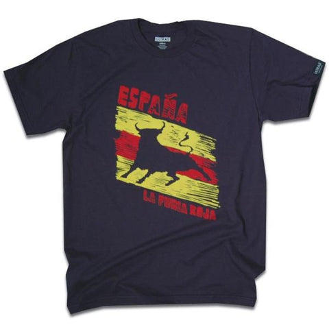 Spain Espana La Furia Roja Bull T-shirt - Navy / Adult Small - Ultras Soccer T-shirts
