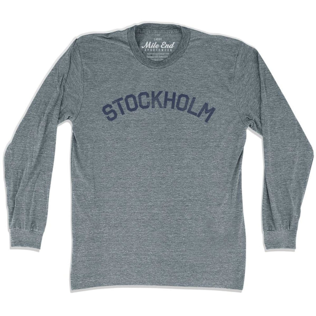 Stockholm City Vintage Long Sleeve T-shirt - Athletic Grey / Adult X-Small - Mile End City