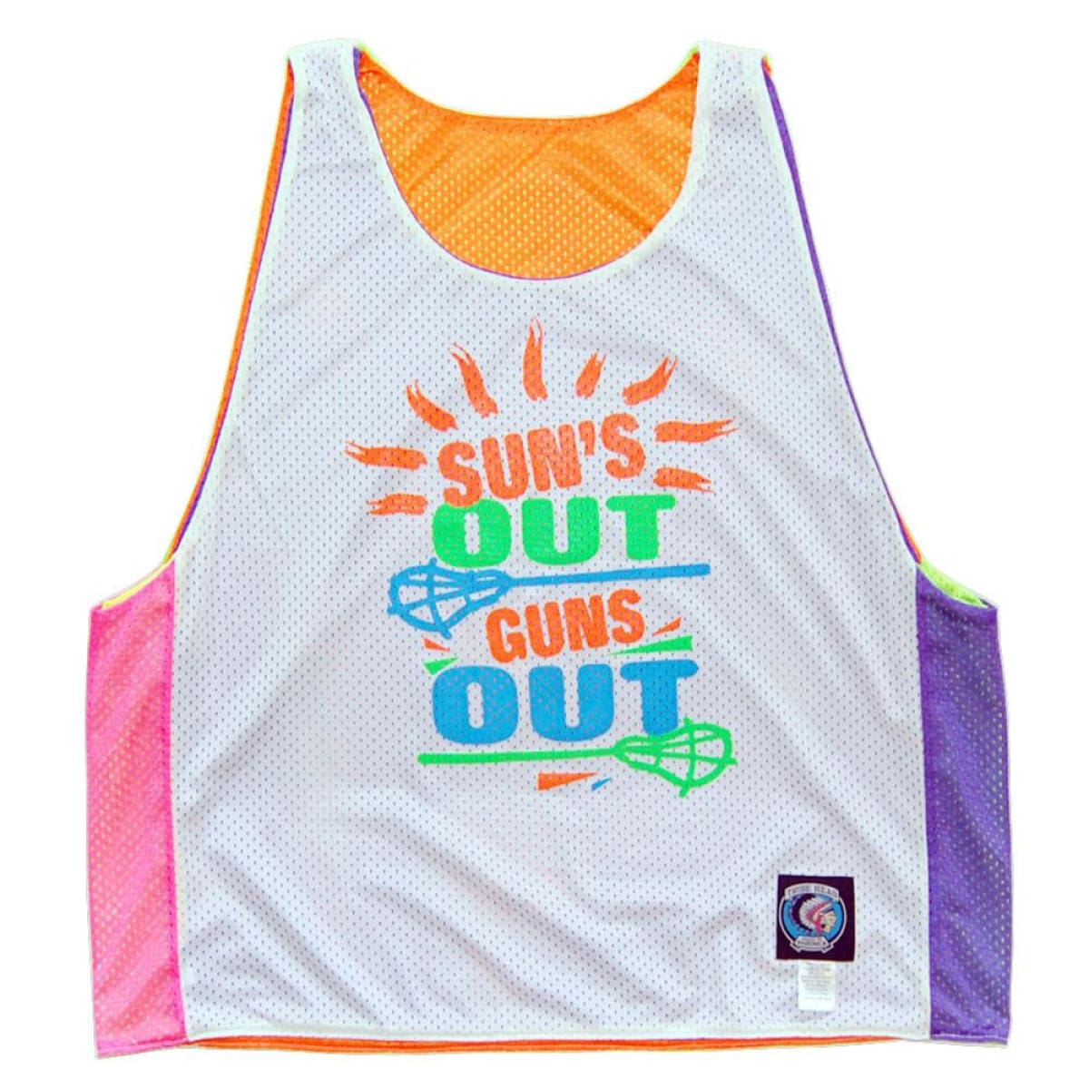 Suns Out Guns Out Lacrosse Sublimated Reversible - Graphic Mesh Lacrosse Pinnies