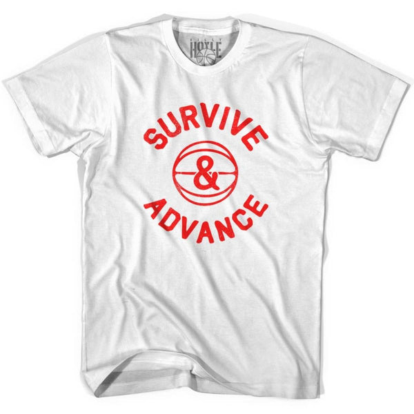 Survive and advance basketball t shirt in T-shirt - White / Adult Small - Basketball T-shirt