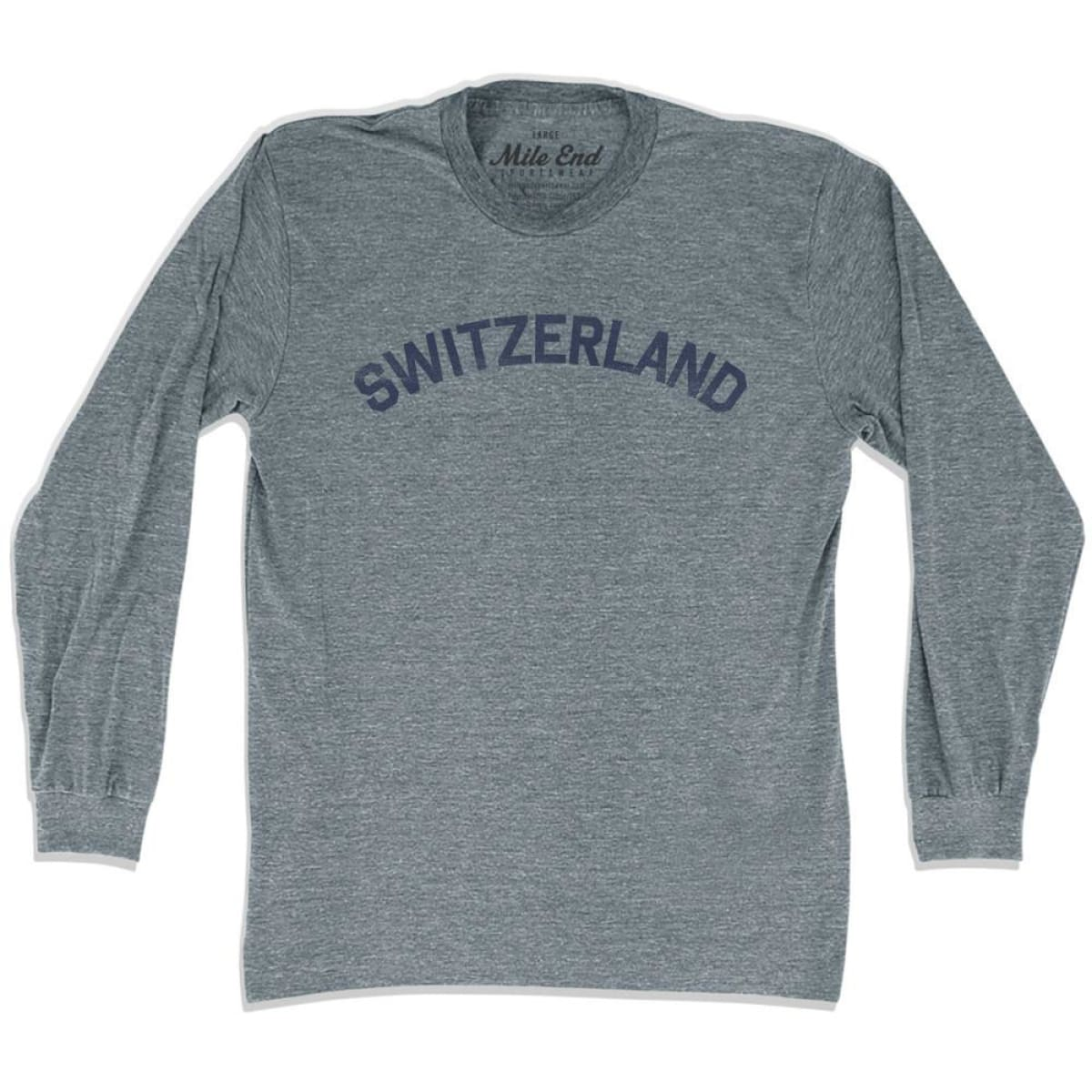 Switzerland City Vintage Long Sleeve T-shirt - Athletic Grey / Adult X-Small - Mile End City