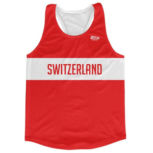 Switzerland Country Finish Line Running Tank Top Racerback Track and Cross Country Singlet Jersey - Red White / Adult X-Small - Running Top