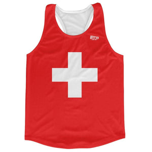 Switzerland Country Flag Running Tank Top Racerback Track and Cross Country Singlet Jersey - Red White / Adult X-Small - Running Top