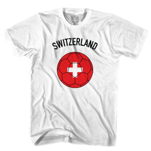 Switzerland Soccer Ball T-shirt - White / Youth X-Small - Ultras Soccer T-shirts