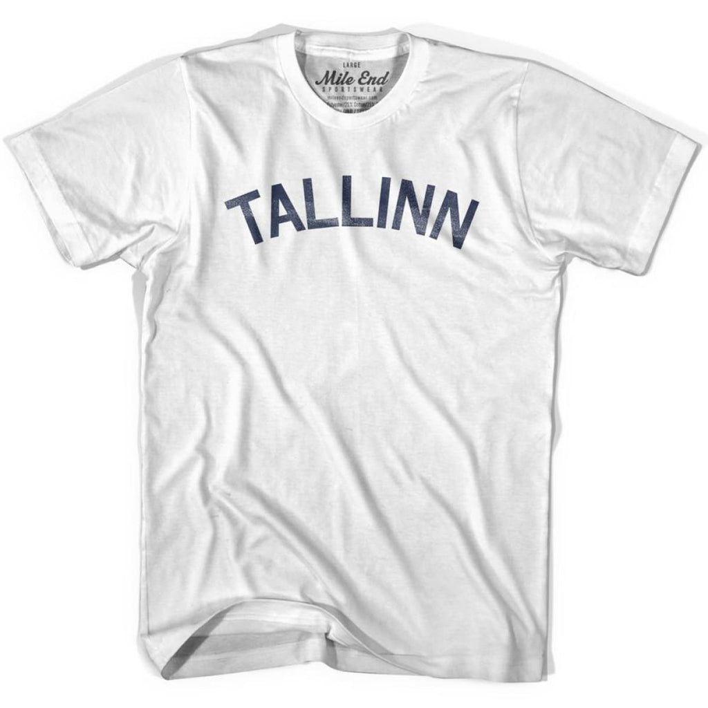 Tallinn City Vintage T-shirt - White / Youth X-Small - Mile End City