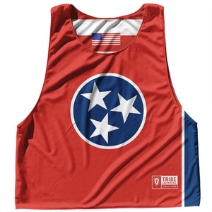 Tennessee State Flag and American Flag Reversible Lacrosse Pinnie - Blue Red & White / Adult Small / No - Lacrosse Pinnies