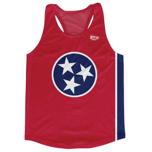 Tennessee State Flag Running Tank Top Racerback Track and Cross Country Singlet Jersey - Blue Red & White / Adult X-Small - Running Top