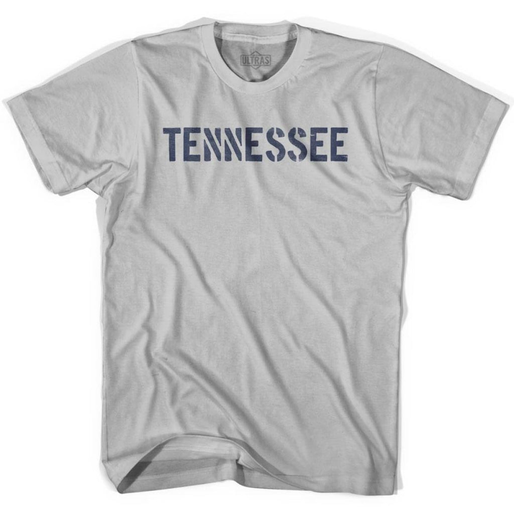 Tennessee State Stencil Adult Cotton T-shirt - Cool Grey / Adult Small - Stencil State