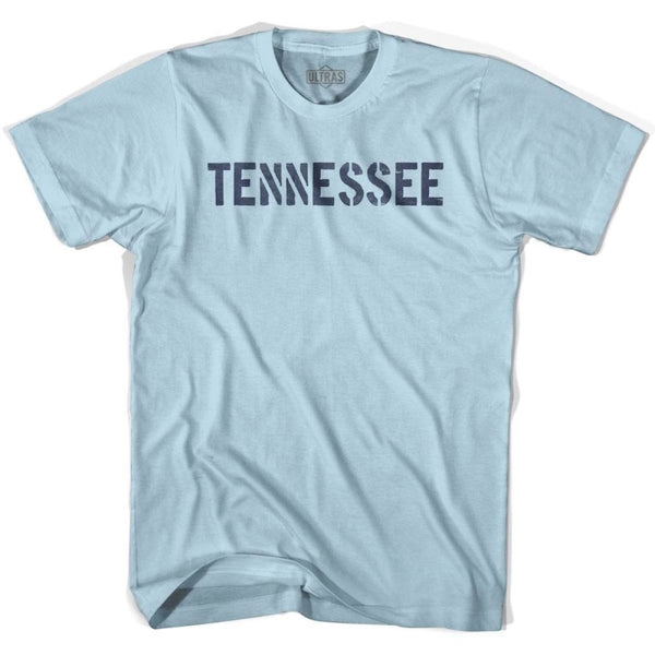 Tennessee State Stencil Adult Cotton T-shirt - Light Blue / Adult Small - Stencil State