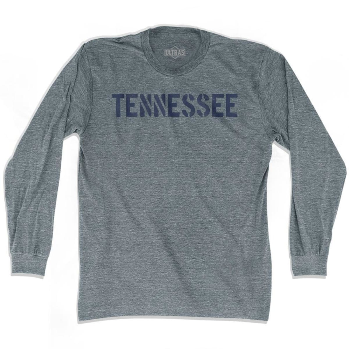 Tennessee State Stencil Adult Tri-Blend Long Sleeve T-shirt - Athletic Grey / Adult Small - Stencil State