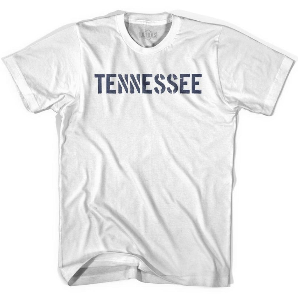Tennessee State Stencil Youth Cotton T-shirt - White / Youth X-Small - Stencil State