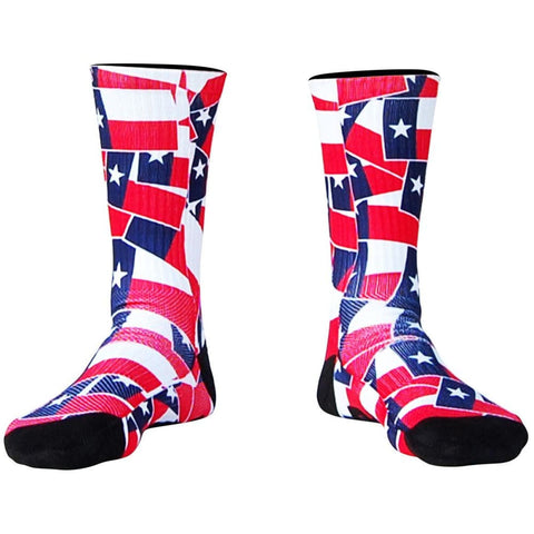 Texas Flag Party Athletic Crew Socks - Black / X-Large - Socks